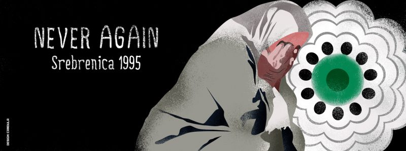 Illustration by Zoran Cardula, an artist from North Macedonia, marking the 25th anniversary of Srebrenica genocide, featuring the symbolic white flower. Used with permission.