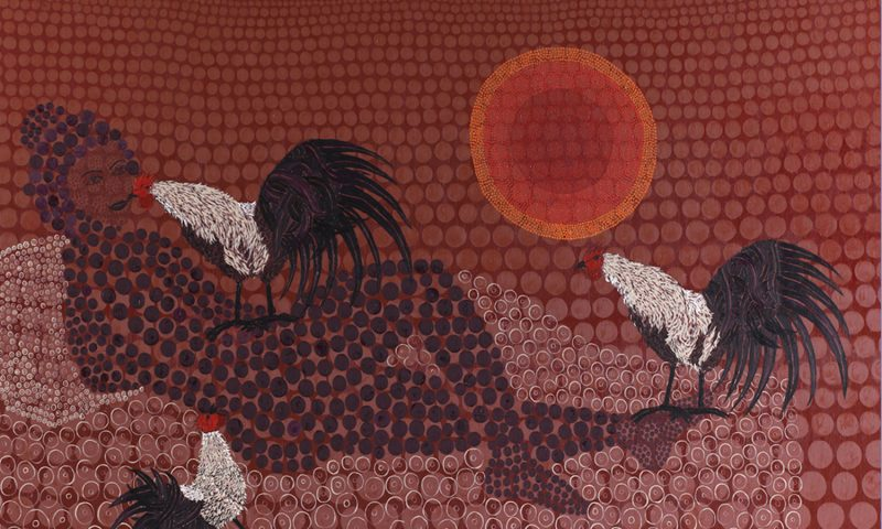 Woman with Roosters, oil on canvas, 155x230cm. 2011