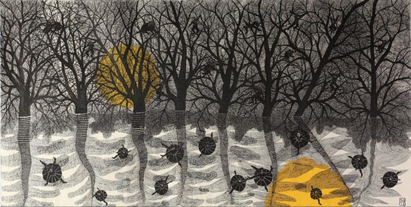 Ormanda Dans / Dance in the Forest, 2013 El yapımı kağıt üzerine mürekkep / Ink on handmade paper 61 × 118 1/10 in