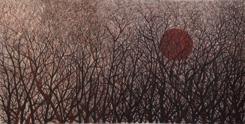 Forest. Full Moon. ink on hand made paper, 155x300cm, 2012